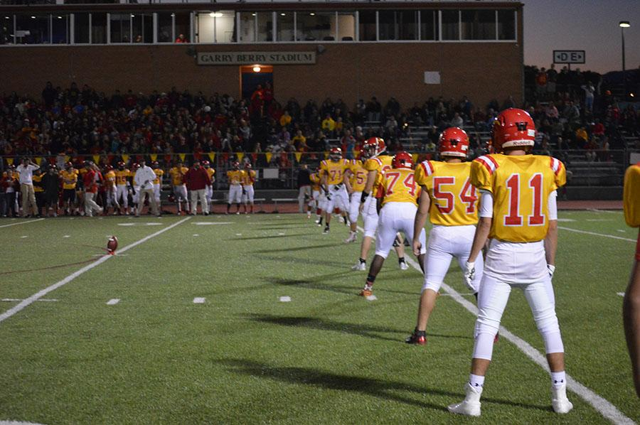 Coronado football players stand ready for the punt during the 2015-2016 season.