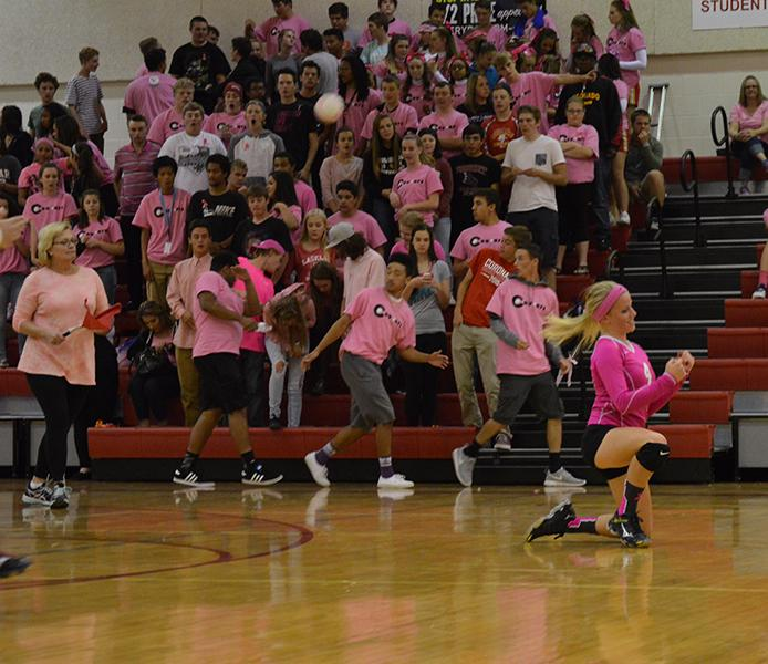 The+scene+from+Coronado+volleyball%27s+2015-2016+Pink-Out+game.