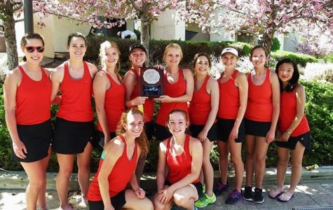 The Coronado women's tennis team poses with their second-place plaque.