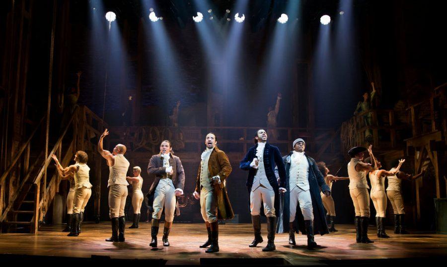 From left to right: Anthony Ramos as John Laurens, Lin Manuel Miranda as Alexander Hamilton, Daveed Diggs as Lafayette, and Okieriete Oak Onaodowan as Hercules Mulligan, along with the Hamilton Ensemble.