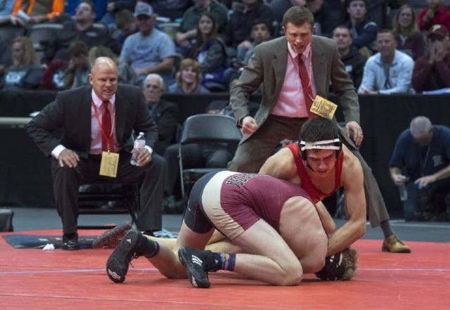 Jimmy Weaver, 12, battles for the 5A state title.