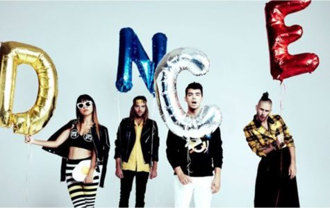 The band DNCE consists of members (left to right) Jinjoo, Jack, Joe, and Cole.