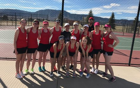 The girls varsity tennis team after competing at Lewis Palmer