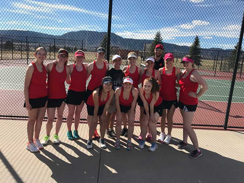 The+girls+varsity+tennis+team+after+competing+at+Lewis+Palmer