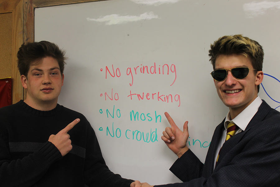 President Elect Dillon Marlow and VP-Elect Alex Johnson celebrate their win by reminding the student body of the dance rules!  Don't break any rules under their regime!
