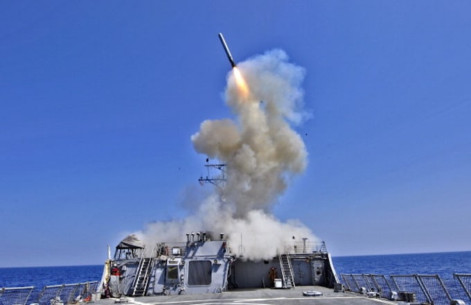 Tomahawk missile launched from a US warship from the Mediterranean Sea.