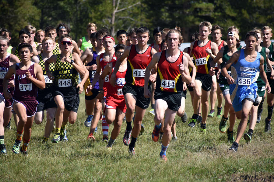 Conor Strizich and Ben Swanson lead the Cougars and the competition at the start of the Lake County Invite in Leadville.  Swanson would end up winning the race with Strizich close behind in fourth.