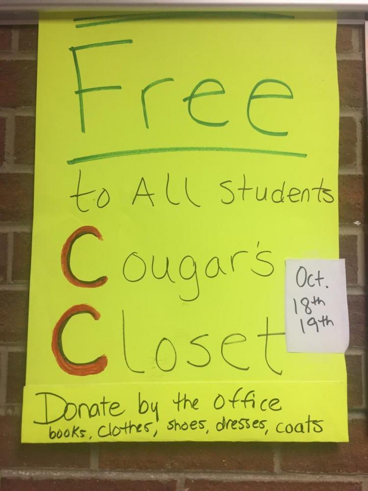 Gratis a todos estudiantes Cougars Closet 18 y 19 de octubre Done por la oficina Libros, ropa, zapatos, vestidos, abrigos