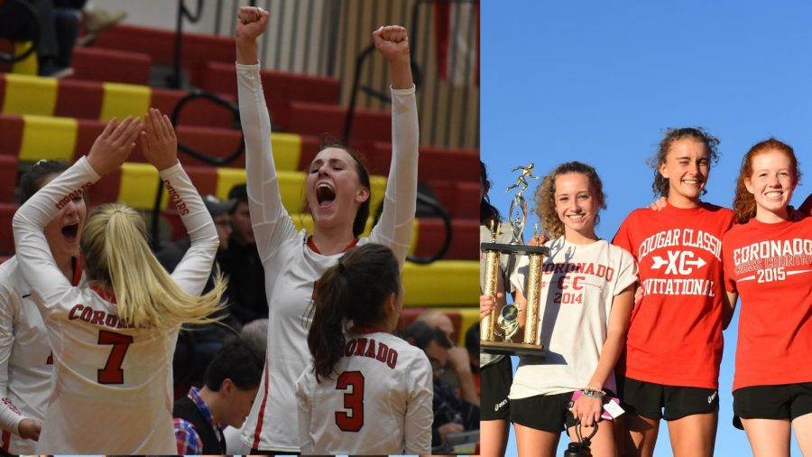 On+the+left%2C+Mara+Abernethy+and+her+teammates+celebrate+their+win+over+Rampart+for+the+CSML+volleyball+title.++On+the+right%2C+Grace+Abernethy+smiles+with+teammates+and+the+CSML+cross+country+trophy.