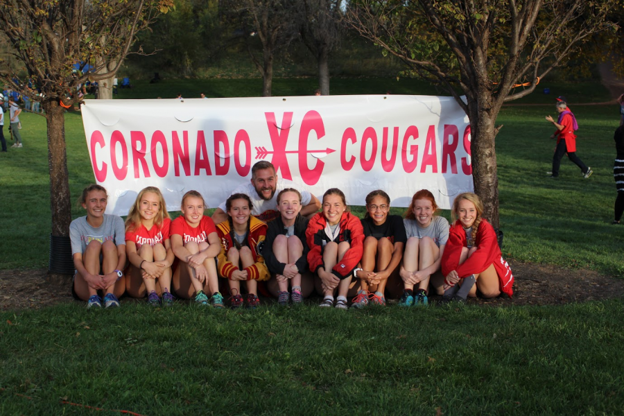 The womens team poses after their third place finish at the meet.