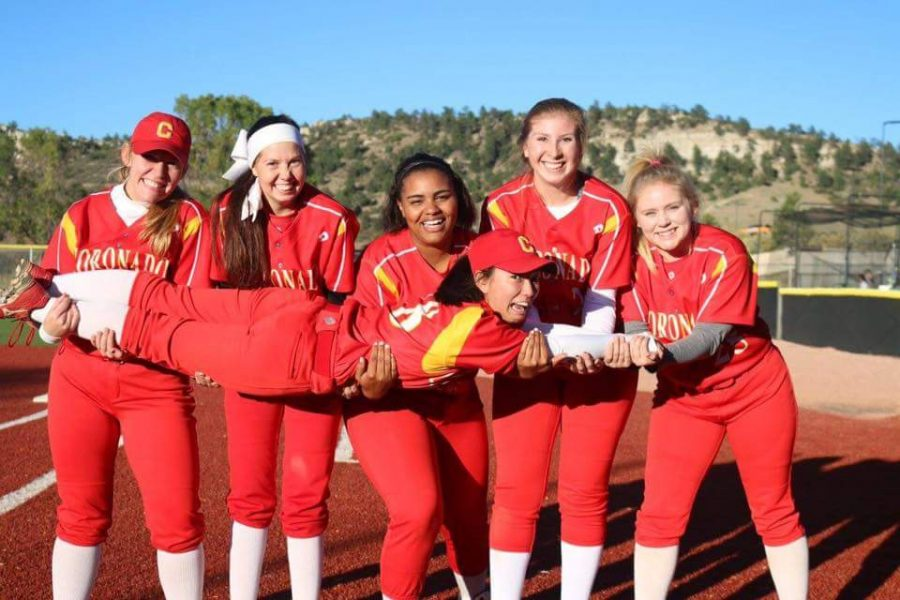 Varsity Softball Celebrates after their Final game