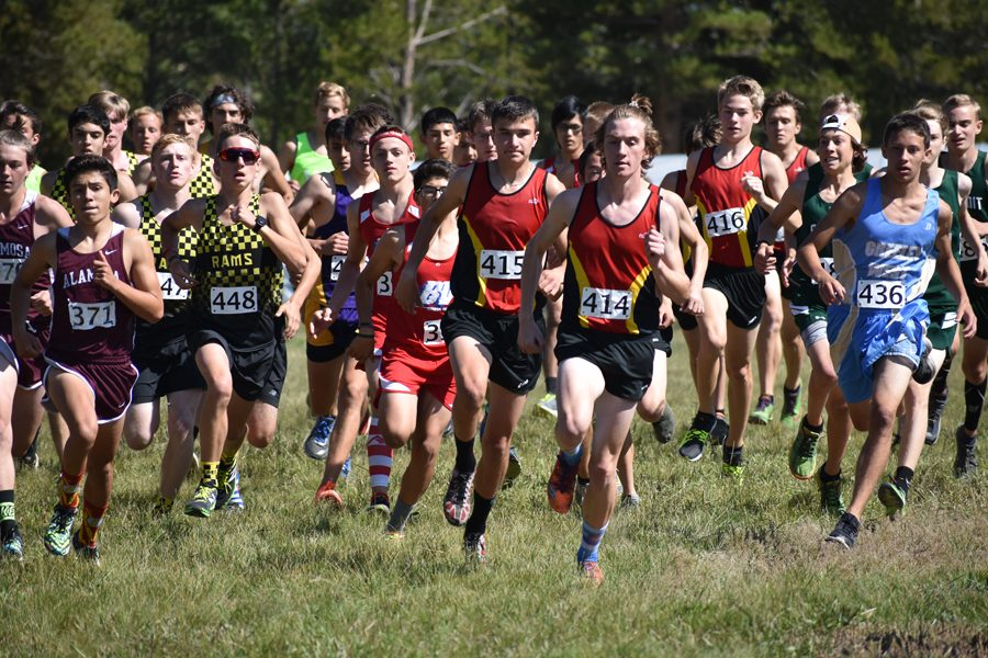 The Cougars, led by Conor Strizich, 12, leave the start of the Leadville Invitational earlier this season.