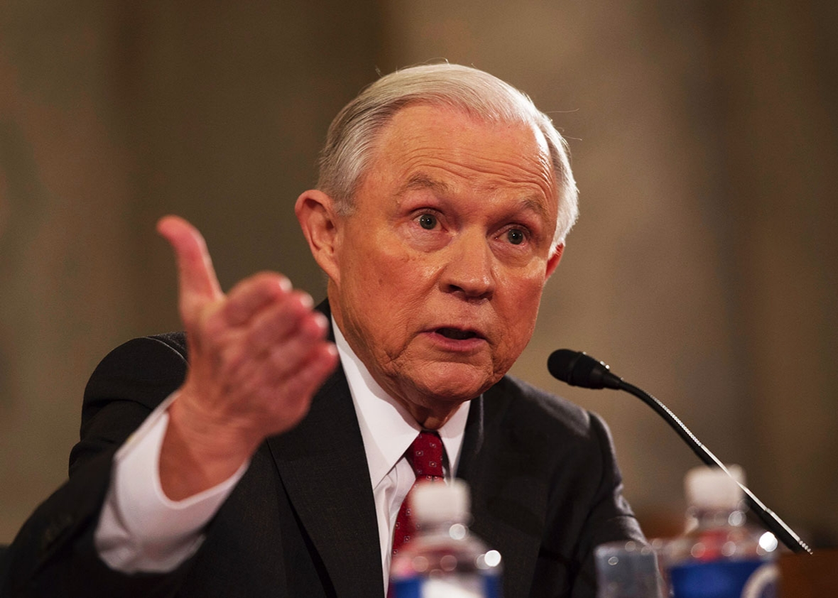 Attorney General Jeff Sessions in a Hearing