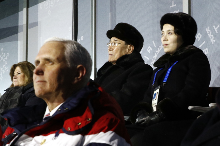 Vice President Mike Pence sitting in front of Kim Jo-Jong at the Olympics opening ceremony.