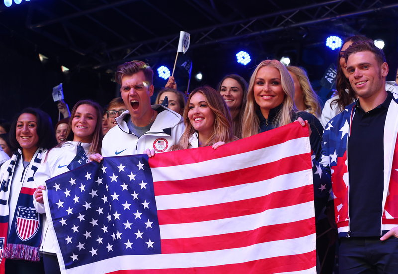 Members of Team USA during the 2018 Winter Olympics Celebration  Credit: USOC