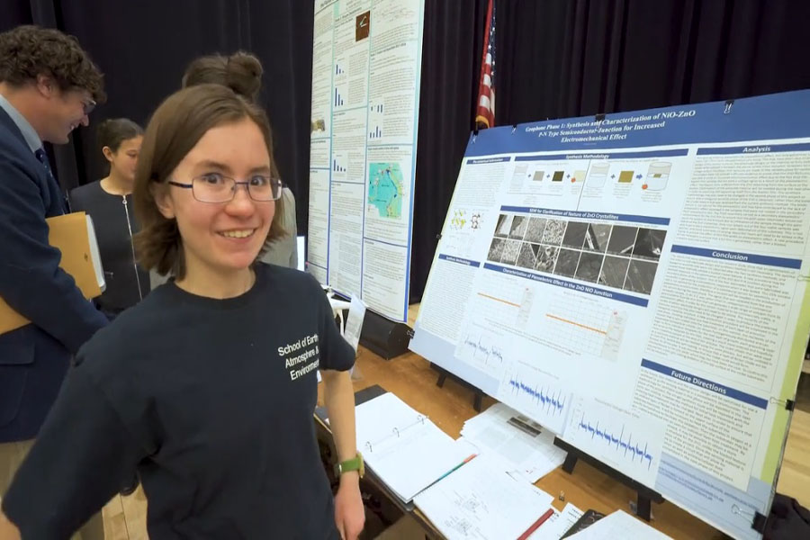 Jenna Salvat pictured with her project