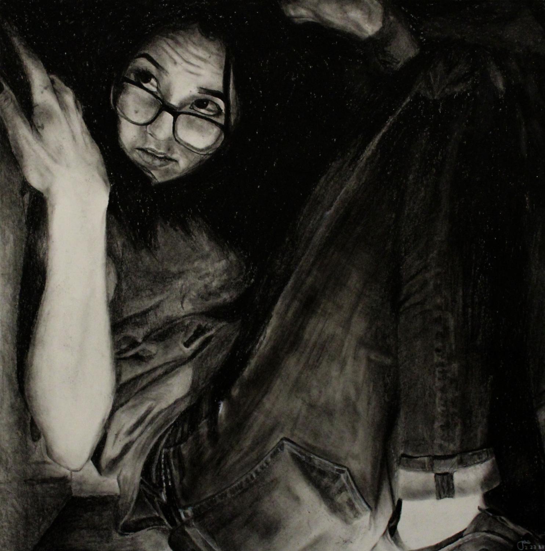 Jasmin Kykendall's award-winning charcoal piece, Claustrophobia