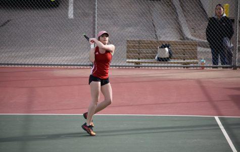1 singles Savannah Leifer, 12, during a match in the 2017-2018 varsity women's tennis season