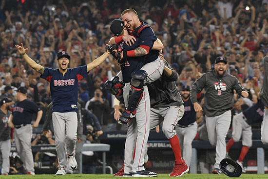 The Red Sox start their celebration after winning game five 5-1.