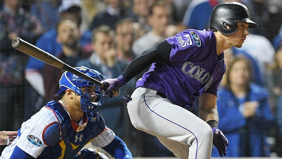 Tony Wolters sends a single into center to bring around the game winning run.