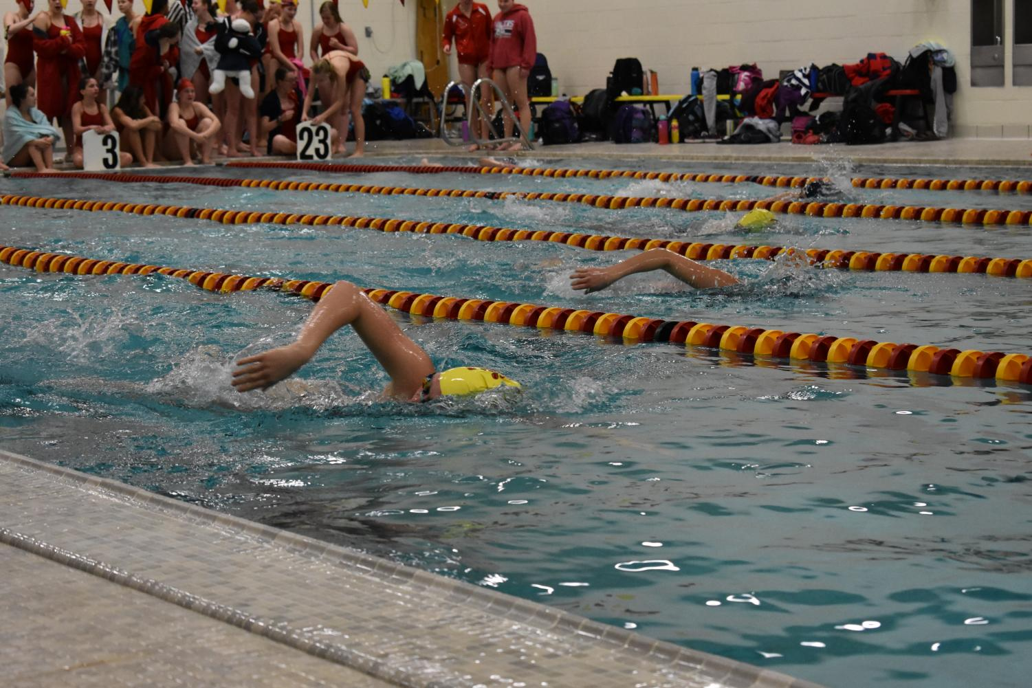 A Coronado swimmer competes in a freestyle race.