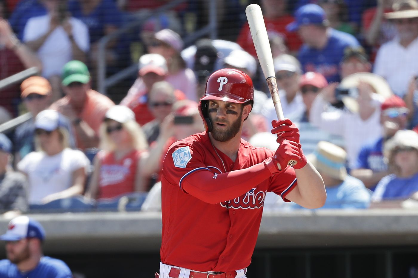Bryce Harper gets ready for an at bat in Spring Training.