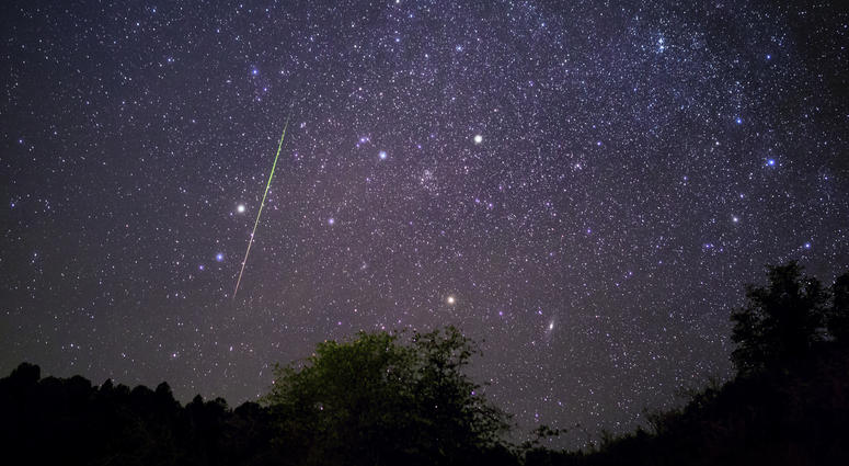 Bright+meteor+streaking+across+the+night+sky+above+Payson%2C+Arizona+during+the+Leonids+meteor+shower.