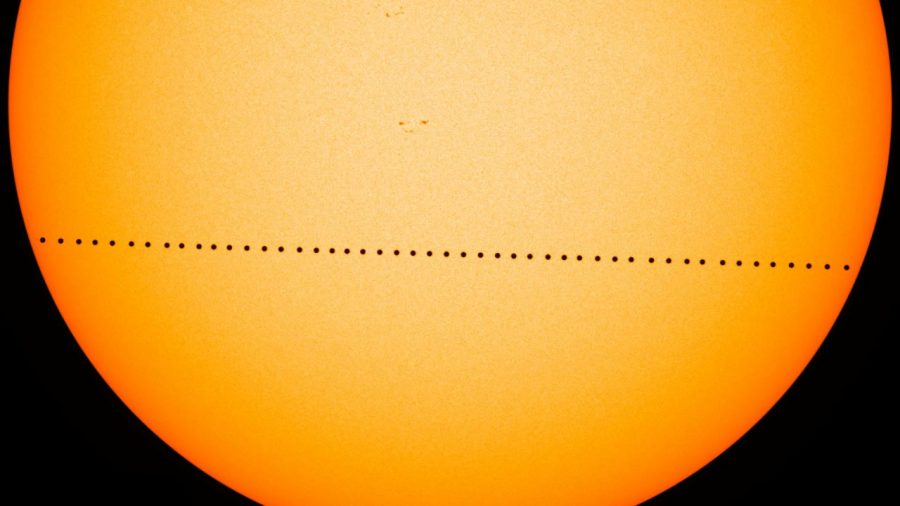Long exposure of  a previous Mercury Transit showing Mercury's path in front of the sun.